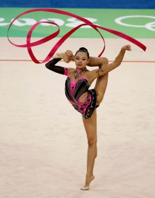 Aliya Yussupova of Kazakhstan performs with the ribbon during the individual all-around final of the rhythmic gymnastics competition at the Beijing 2008 Olympic Games August 23, 2008. REUTERS/Yves Herman (CHINA)