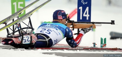 VANCOUVER, BC - MARCH 13: Andy Soule of the USA shoots during the Men's 2.4km Pursuit Sitting Biathlon on Day 2 of the 2010 Vancouver Winter Paralympics at Whistler Paralympic Park on March 13, 2010 in Whistler, Canada. (Photo by Hannah Johnston/Getty Images) *** Local Caption *** Andy Soule
