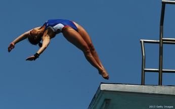 FORT LAUDERDALE, FL - MAY 12: Samantha Bromberg of the USA dives during the Women's 10 Meter Platform Finals at the Fort Lauderdale Aquatic Center on Day 4 of the AT&T USA Diving Grand Prix on May 12, 2013 in Fort Lauderdale, Florida. (Photo by Al Bello/Getty Images)